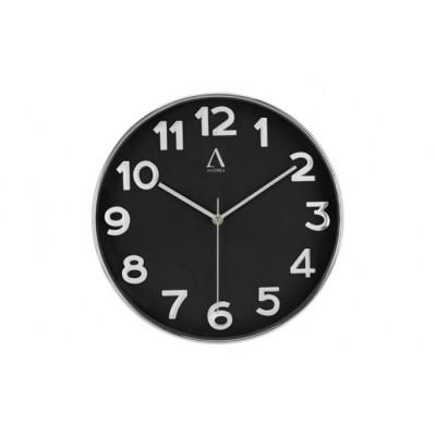 Reloj de pared negro y plata